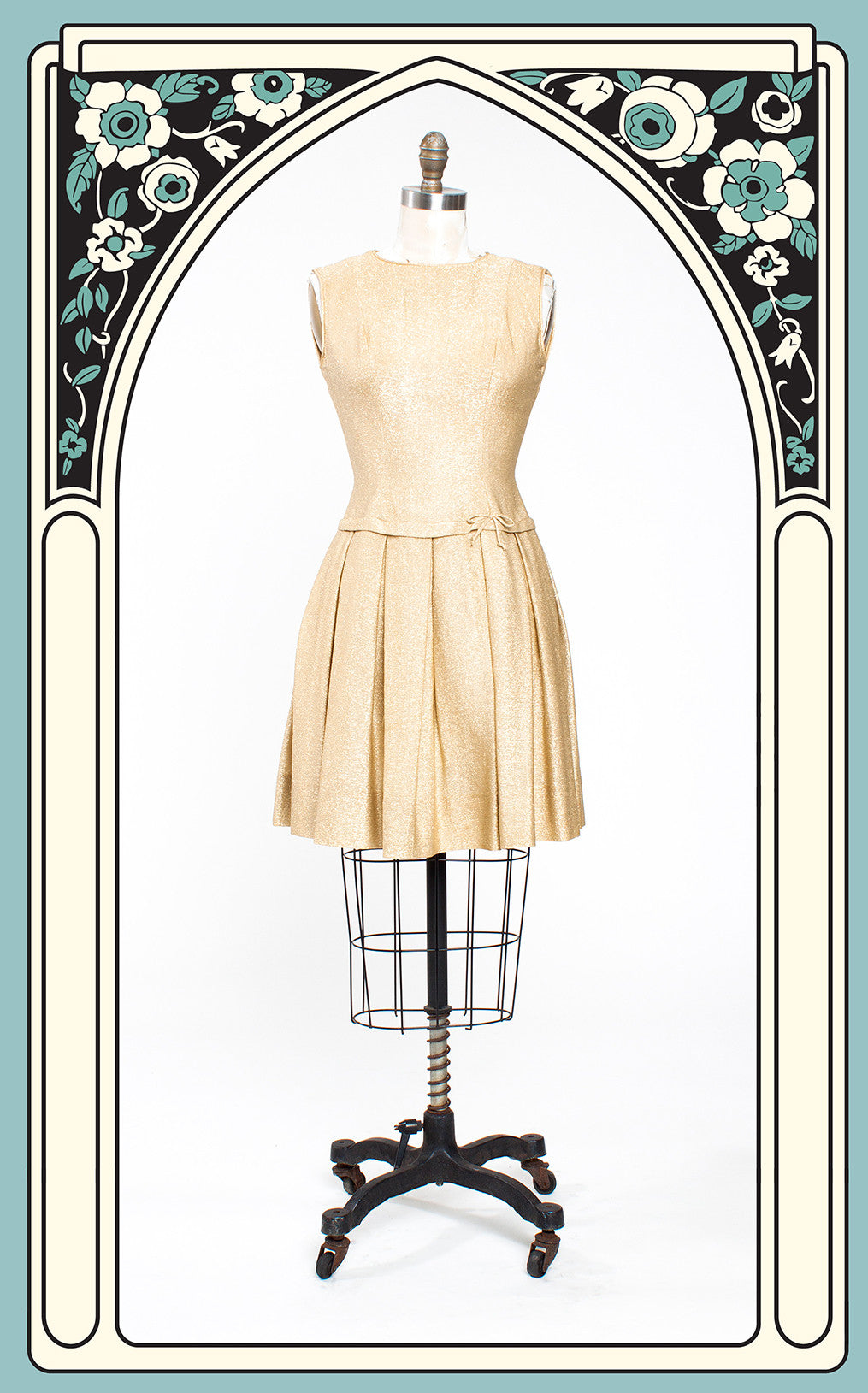 Iconic 1960s Young Whirl Designs Gold Lurex Drop Waist Dress