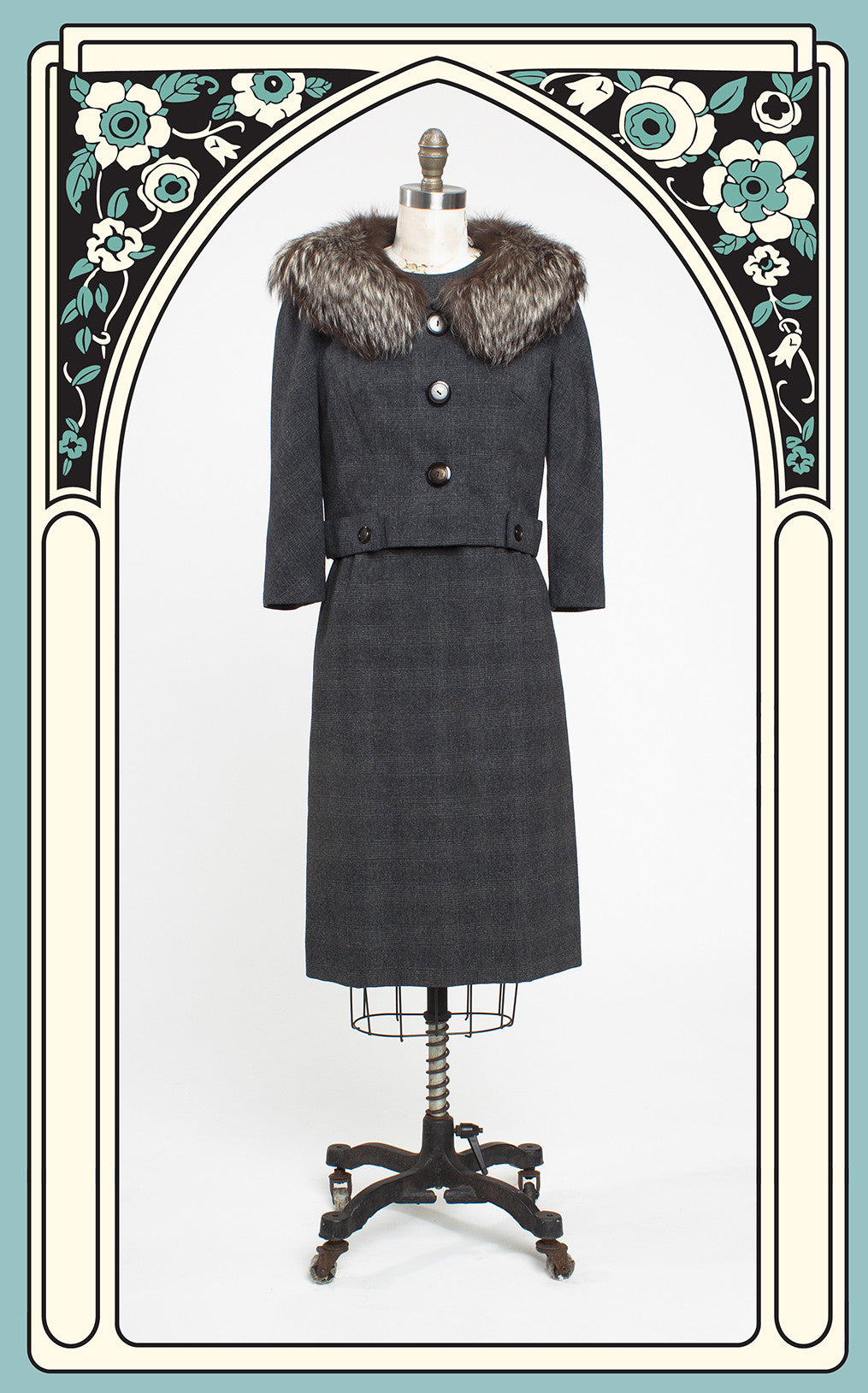 1960s Abe Schrader Glen Plaid Wool 2-Piece Suit Dress with Fox Fur Collar