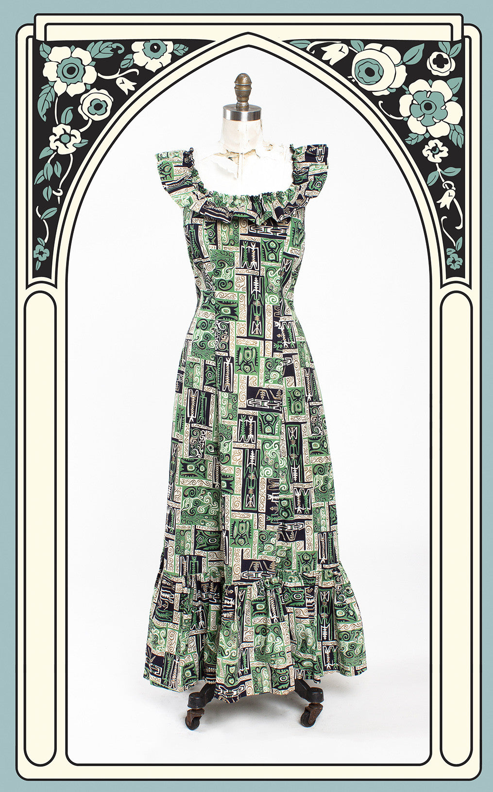 SOLD -- 1950s Malihini Hand Painted Tiki Hawiaan Dress