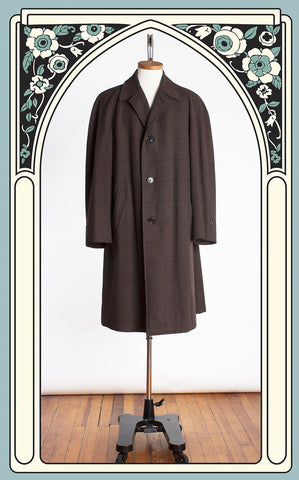 1960s Hart Schaffner & Marx Brown Windowpane Wool Motor Coat