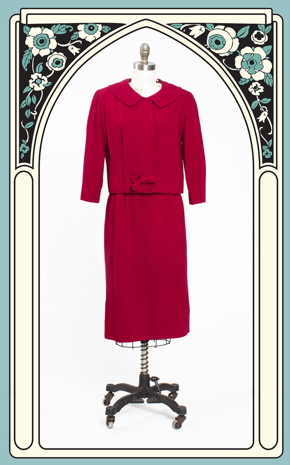 1950s Mort Schrader Red Wool 2-Piece Suit Dress