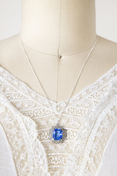 Vintage 1930s Rhodium Plated Blue Glass Necklace