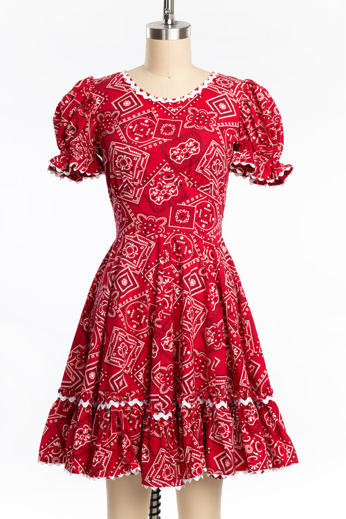 Vintage 1970s Red Bandana Print Cotton Western Babydoll Dress