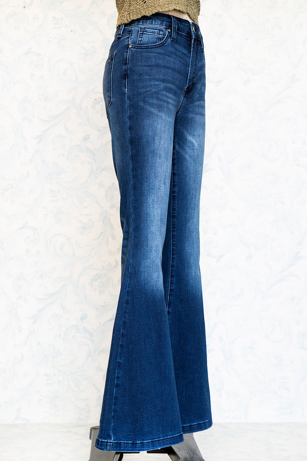 Mid Rise Stretch Denim Bell Bottoms