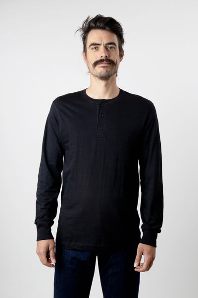 Men's black long sleeve cotton henley shirt