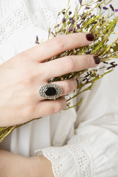Vintage 1920s Uncas black onyx and marcasite sterling silver Art Deco ring