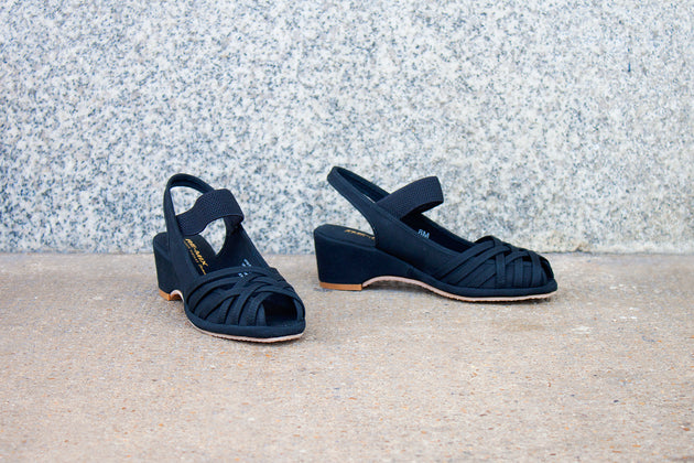 Re-Mix Vintage Shoes Penny in Black Canvas