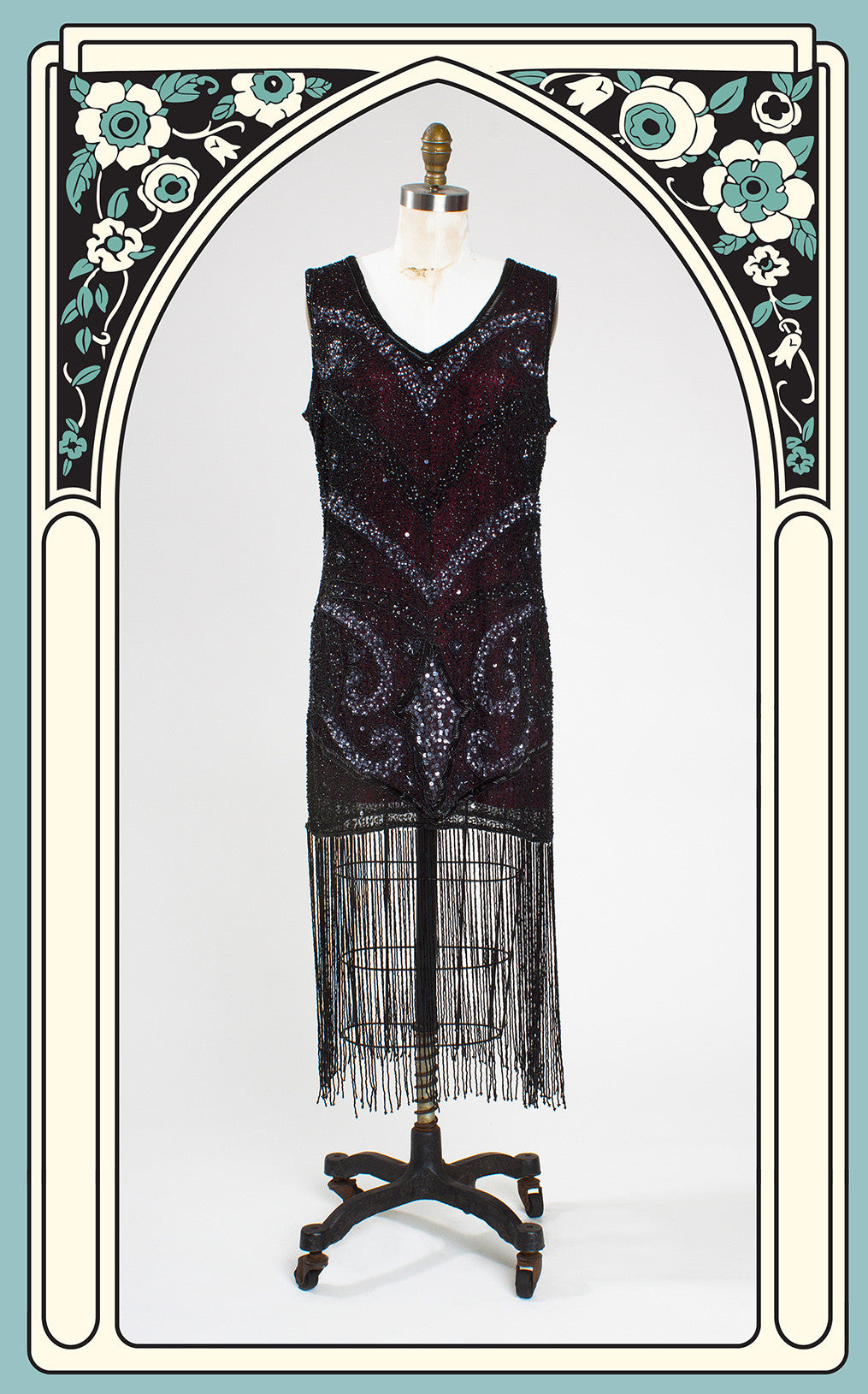 1920s Style Black Over Burgundy Heavily Beaded Flapper Dress with Long Beaded Fringe