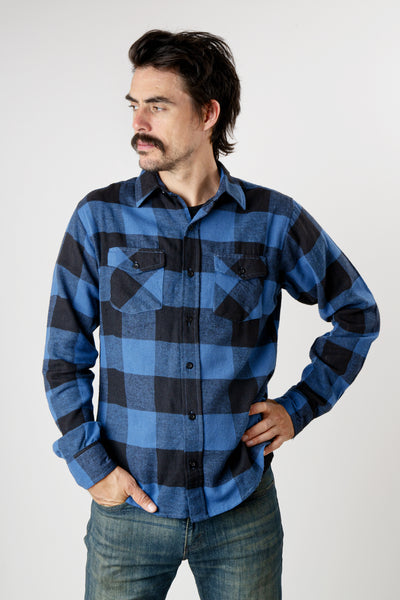 Men's blue and black plaid long sleeve cotton flannel shirt