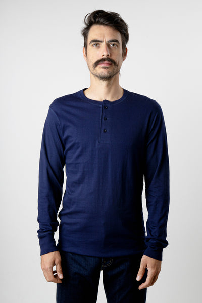 Men's navy long sleeve cotton henley shirt