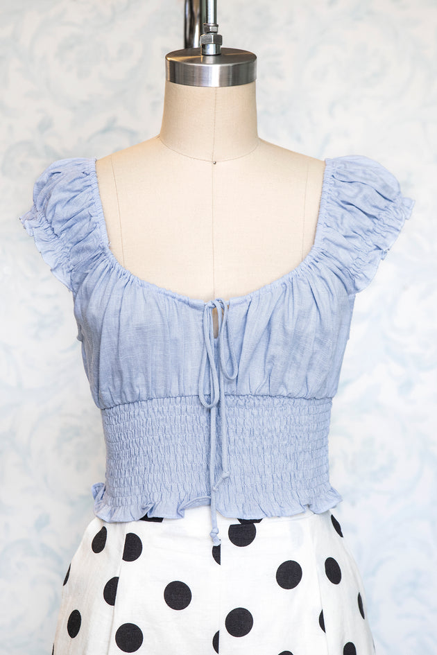 Chambray Blue Peasant Style Top