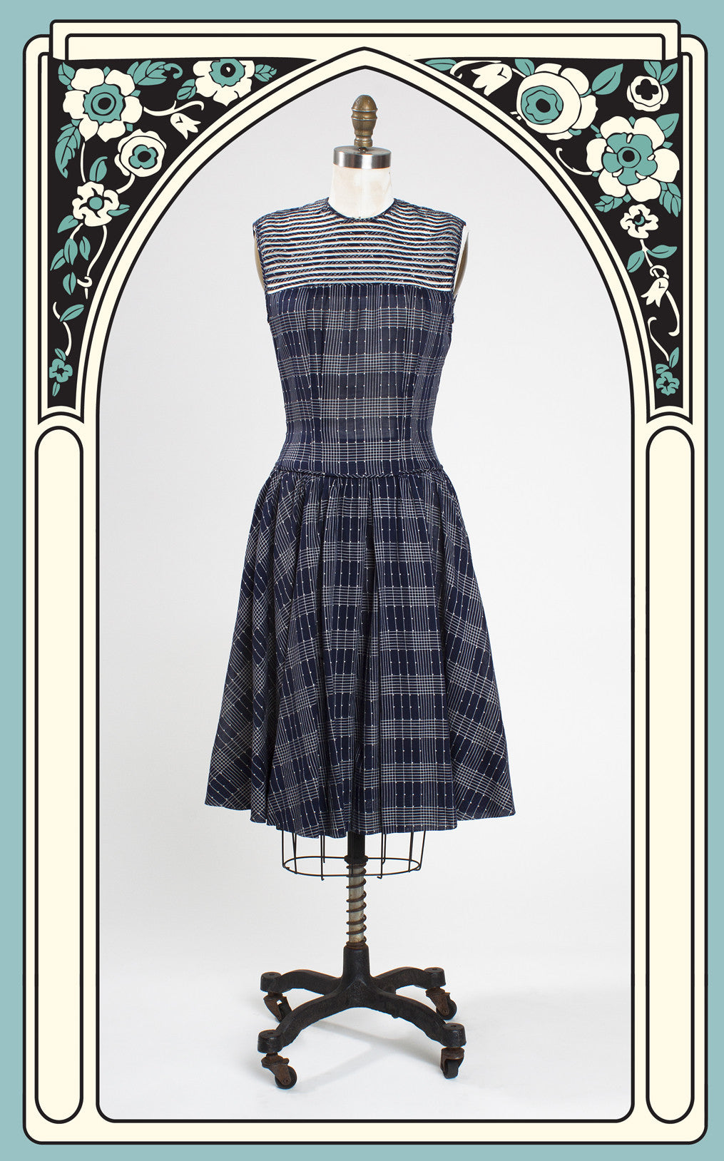 SOLD -- 1950s R & K Original Navy Drop Waist Day Dress with Mesh Detailing
