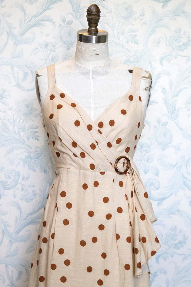 Faux Wrap Polka Dot Bombshell Dress