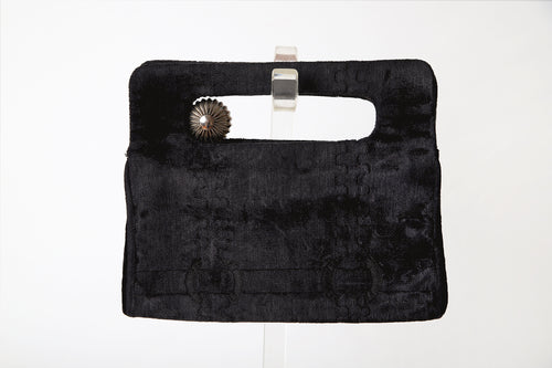 Couture Designer Cesare Piccini Firenze 1960s Inky Black Velour Clutch / Made in Italy / Italian Handbag