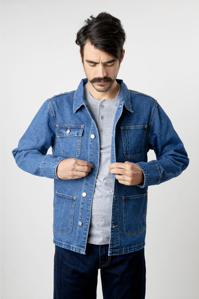 Men's blue denim chore coat