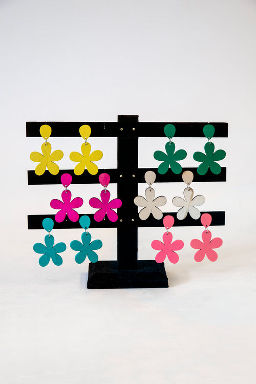 1960s Style Wooden Daisy Earrings (6 Colors)