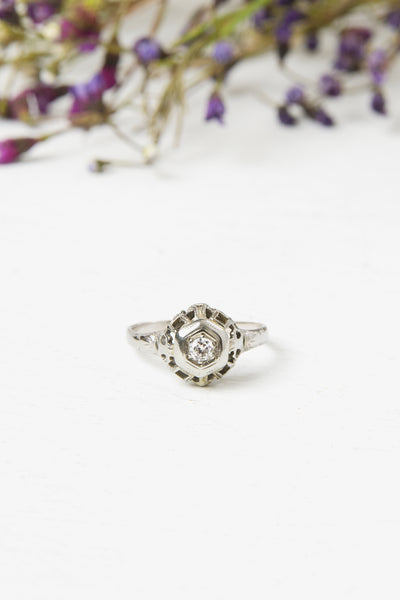 Antique Edwardian 14k and Old European Diamond Engagement Ring