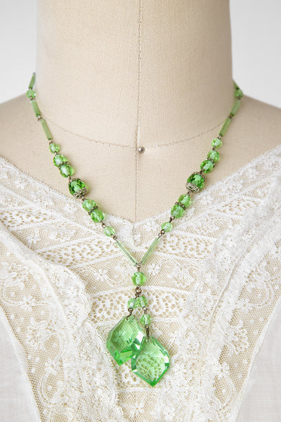 Vintage 1920s Absinthe Green Czech Glass Double Lariat Necklace