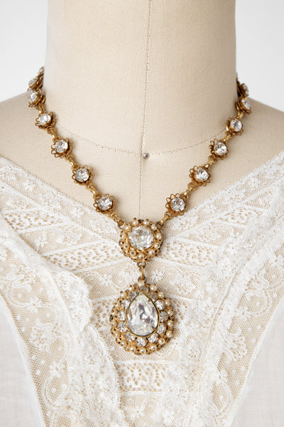 Vintage 1950s Christian Dior by Kramer Rhinestone and Pearl Necklace