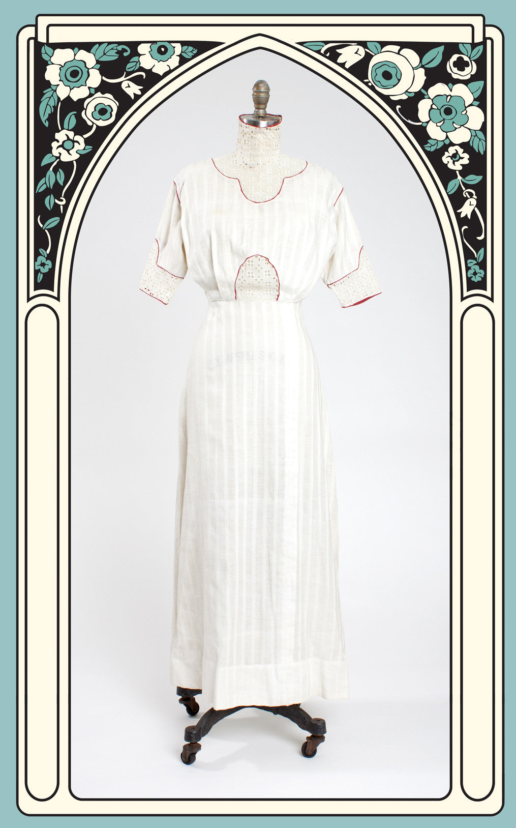 1905 Edwardian High Collar Striped Cotton Afternoon Dress