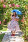 Sweet 1950s Style Pink Floral Sun Dress