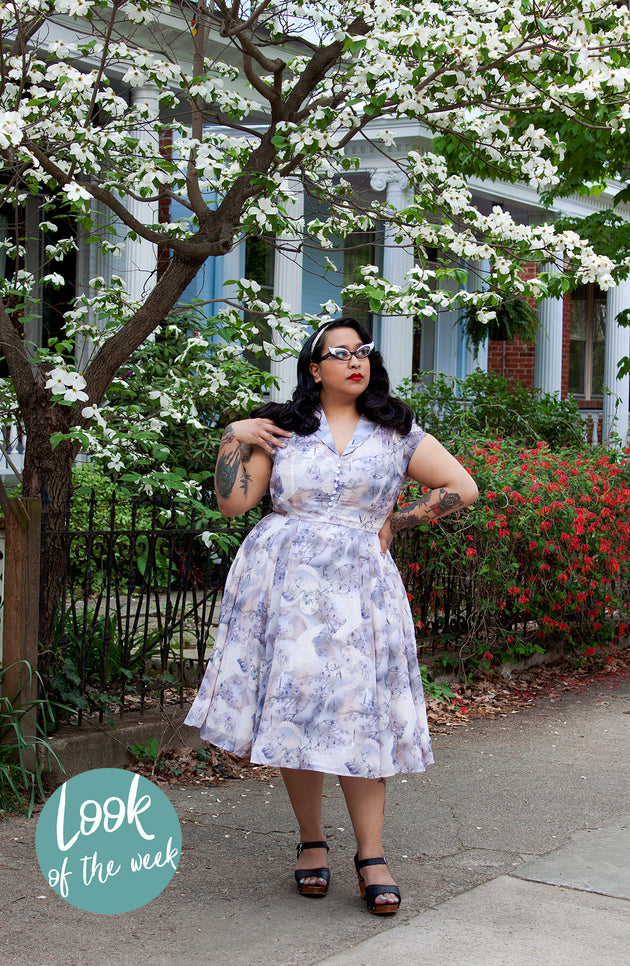 1950s Style Purple Chiffon Swing Dress