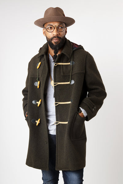 Men's Vintage 1960s Lodenfrey Wool Loden Coat with Hood