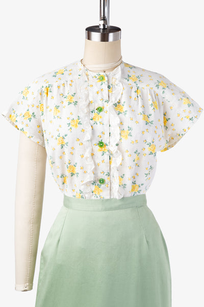 1930s 1940s depression feedsack blouse yellow floral vintage