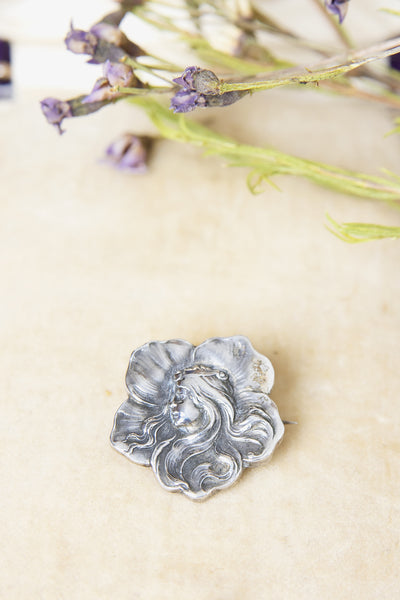 Antique 1900s Unger Brothers Sterling Art Nouveau Goddess Flower Brooch