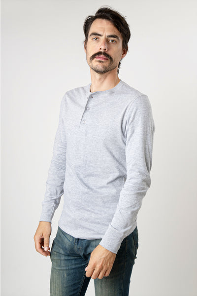 Men's heather gray long sleeve cotton henley shirt