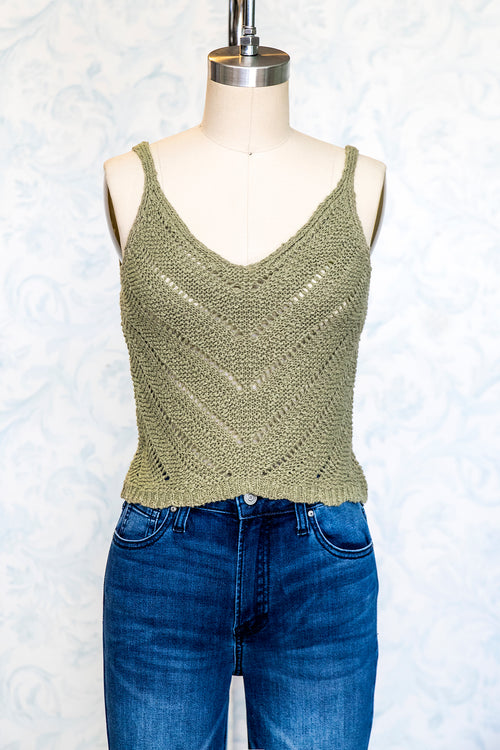 Olive Cotton Knit Sweater Cami Top with Scalloped Hem