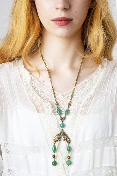 Vintage 1910s 1920s Chrysoprase and Floral Brass Necklace