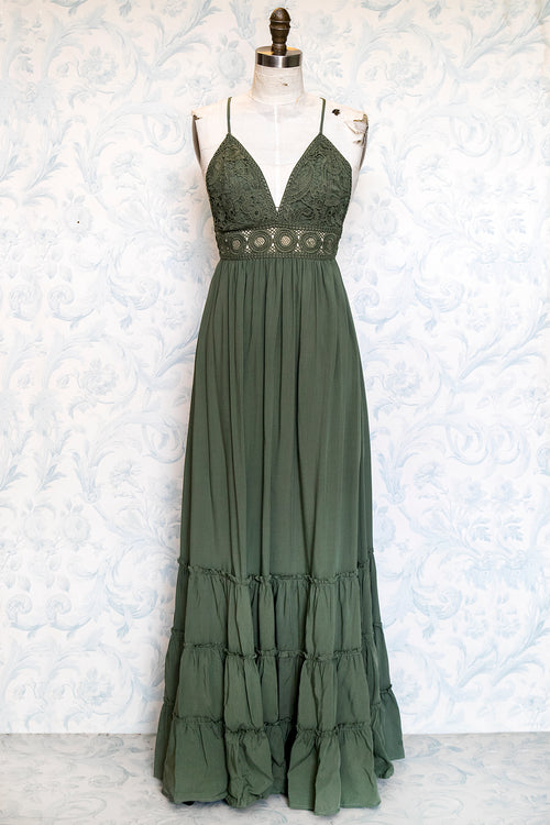 Light Olive Boho Lace Top Woven Maxi Dress with Tiered Skirt