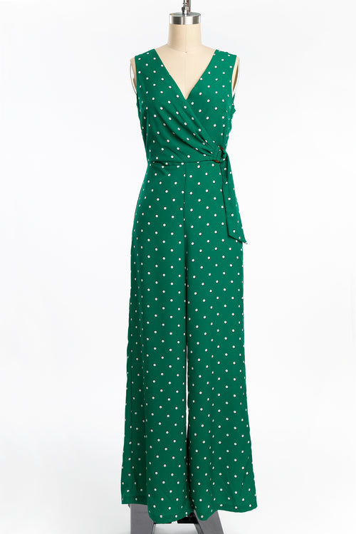 1930s Style Green Polka Dot Beach Pajamas Jumpsuit