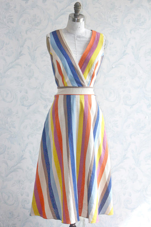 1950s Style Rainbow Striped Tie Back Fit-and-Flare Dress