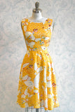 Yellow Butterfly Novelty Print Summer Midi Dress