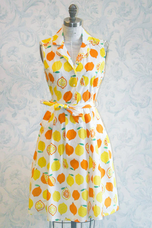 How Do you Like Those Lemons? Shirtwaist Novelty Print Summer Midi Dress