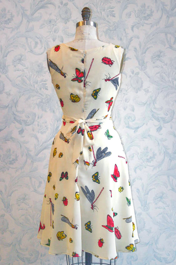 Summer Bug Love Tie Back Novelty Print Summer Dress