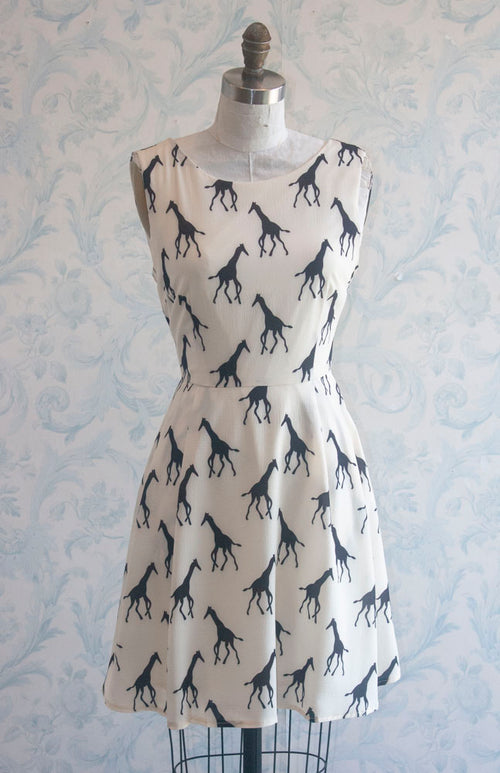 Giraffe Safari Adventure Novelty Print Summer Dress