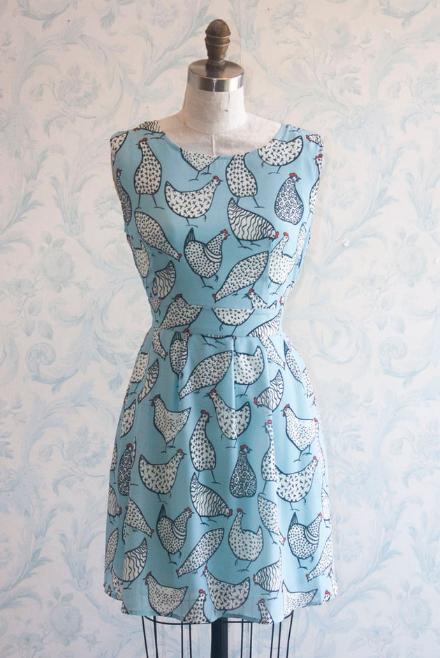 Spring Chickens Tie Back Novelty Print Summer Dress