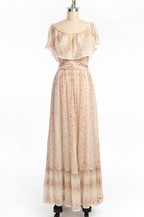 Vintage 1970s Jody T Pink Floral Sheer Cotton Off Shoulder Boho Prairie Dress