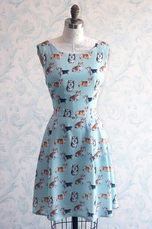 Corgi Crazy Tie Back Novelty Print Summer Dress