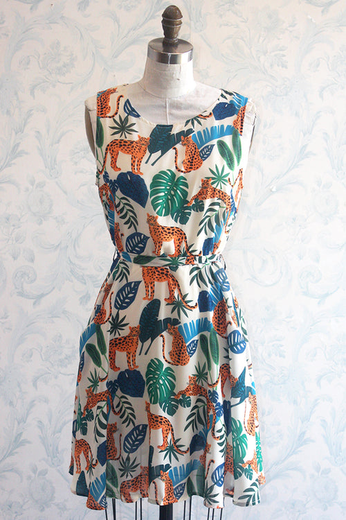 Tropical Cheetah Tie Back Novelty Print Summer Dress