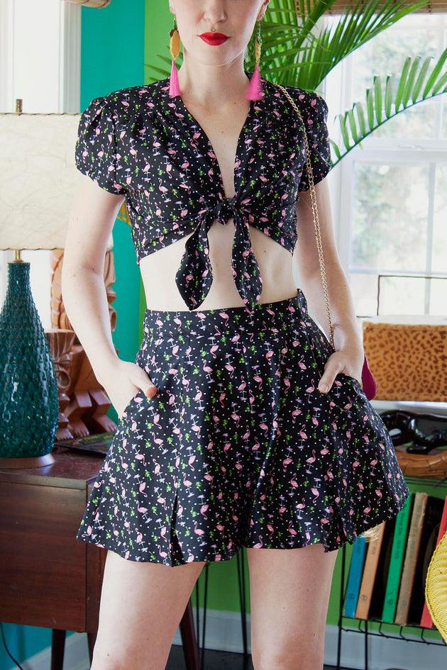 Bettie Page Clothing 1950s Firebirds 2-Piece Short and Tie Top Set
