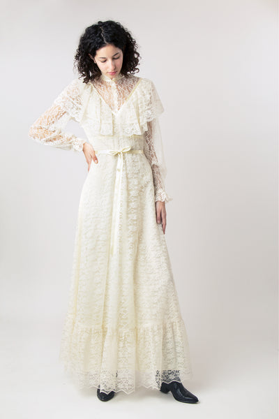 Vintage 1970s Gunne Sax Style Lace Prairie Wedding Dress