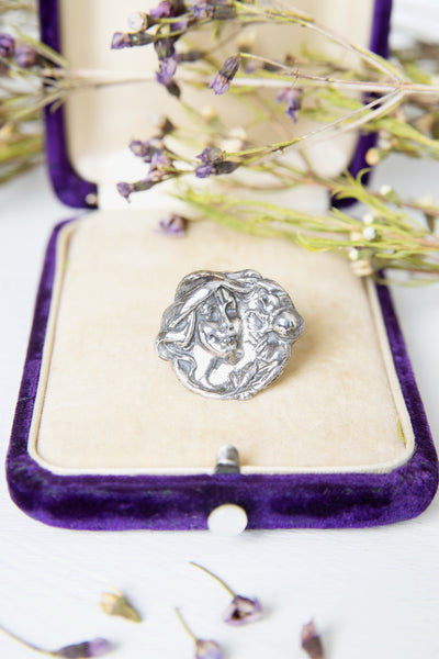 Antique 1910s Sterling Art Nouveau Repoussé Lady's Portrait Brooch