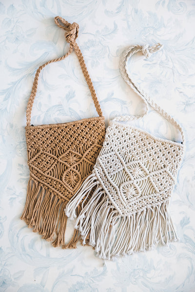 Tan and natural macrame purses