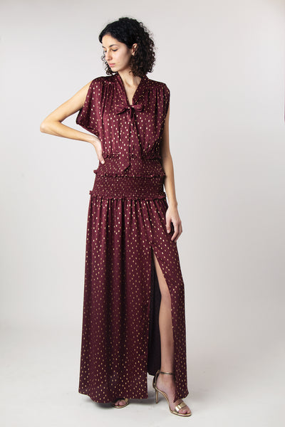 1930s Style Burgundy and Gold Evening Gown