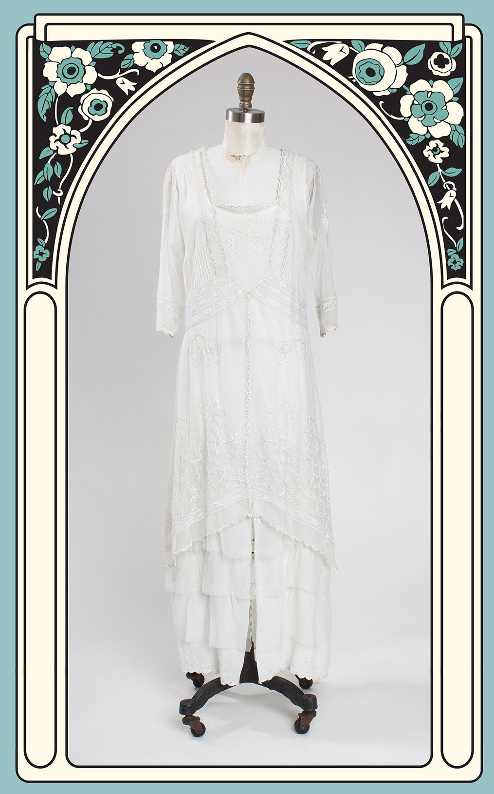 Nataya 1900s Style Art Nouveu Dress in Ivory