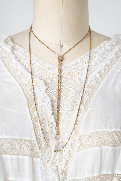 Antique Victorian Foster & Bailey Gold Filled Ladies Slide Chain Necklace with Opal Slide